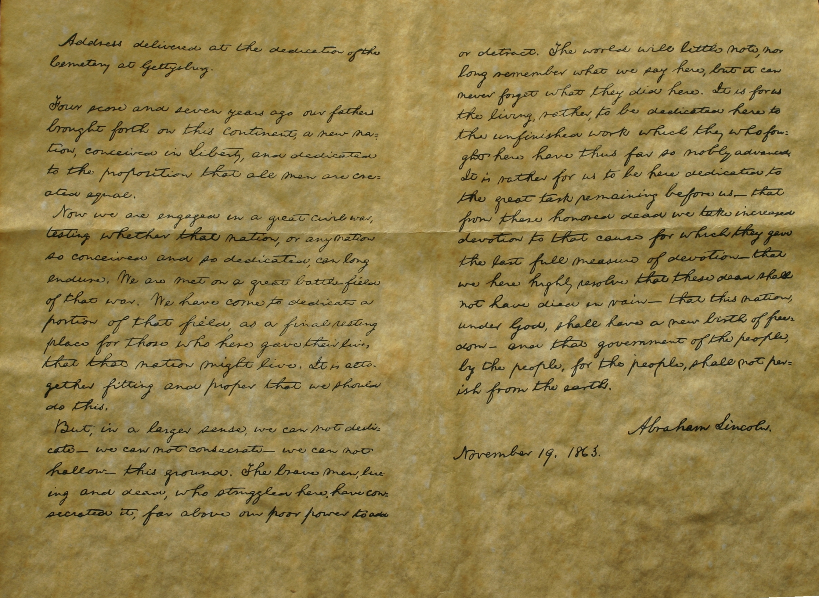 Original Gettysburg Address, November 19, 1863